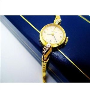 Vtg 14k Gold Diamond Omega Ladies  c1960s Watch